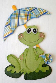 Rain Frog Paper Piecing PreMade Scrapbooking by debanderson651, $5.00