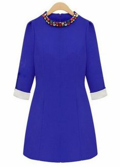 Blue Long Sleeve Rhinestone Slim Dress EUR€15.62
