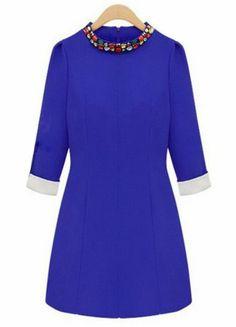 Blue Long Sleeve Rhinestone Slim Dress EUR€15.62