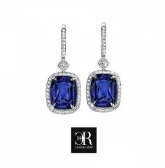 Sapphire cushion cut drop earrings  Very fine cushion cut ceylon sapphire drop earrings with pave surrounds and bales, plus two rub set radiant cuts. Sapphires TCW 2.04, plus 80 small full cut brilliants. The setting is 18 carat white gold. $12,850 #sapphire #whitegold #earrings Perfect Engagement Ring, Engagement Rings, Diamond Earrings, Drop Earrings, Ceylon Sapphire, Radiant Cut, Fine Jewelry, Jewellery, White Gold