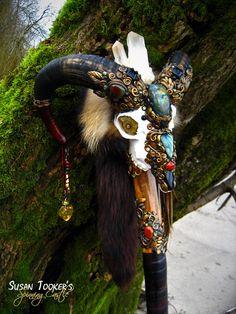 Ram Skull Staff Labradorite Black Tourmaline Carnelian Druid Wizard Pagan Wiccan Magic Walking Stick Agate Fox Fur by Spinning Castle Ram Skull, Skull Art, Wiccan Magic, Pagan, Magick, Witchcraft, Walking Sticks And Canes, Art Sculpture, Animal Skulls