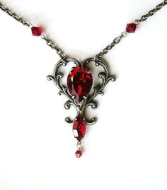 Silver Victorian Heart Shaped Pendant  Ruby by LeBoudoirNoir, $80.00