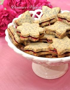 Poppy-seed cookies / Mohnkekse - Recipe in German Galletas Cookies, Xmas Cookies, Cake Cookies, Seed Cookies, Cookie Salad, Cookie Recipes, Snack Recipes, Potluck Dishes, Salad Recipes For Dinner