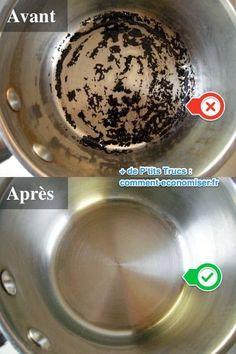 casserole brulée avant le nettoyage au peroxyde et bicarbonate et propre après le nettoyage