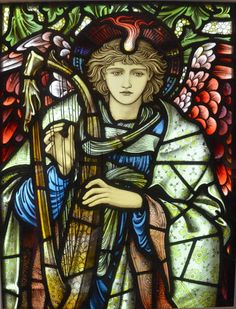 """Praising Angel Designed by Edward Burne-Jones Manufactured by William Morris & Co. 1902 Painted, stained, and leaded Glass """"This angel was originally designed for Salisbury Cathedral . Every care and attention has been lavished on the detail — fro Stained Glass Church, Stained Glass Angel, Stained Glass Paint, Stained Glass Windows, Angel Williams, Sainte Cecile, L'art Du Vitrail, Salisbury Cathedral, Edward Burne Jones"""