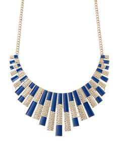 Loving this Gold & Blue Rectangle Bib Necklace on #zulily! #zulilyfinds