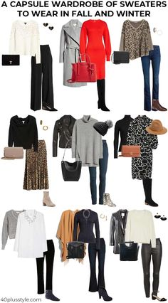 13 ways to style winter sweaters and fall sweaters for women over 40 A capsule wardrobe of sweaters to wear in fall and winter Winter Outfits Women, Fall Fashion Outfits, Casual Winter Outfits, Fall Fashion Trends, 80s Fashion, Style Fashion, Classic Fashion, Fashion Tips, Fashion Bloggers