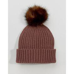 ASOS Mauve Rib Beanie With Chocolate Faux Fur Pom ($16) ❤ liked on Polyvore featuring accessories, hats, ribbed beanie, asos hats, brimmed hat, faux fur beanie hat and faux fur hats
