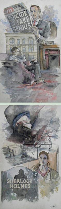 The Fall of Sherlock Holmes by DaughterOfAear. http://daughterofaear.deviantart.com/art/The-Fall-of-Sherlock-Holmes-387070020