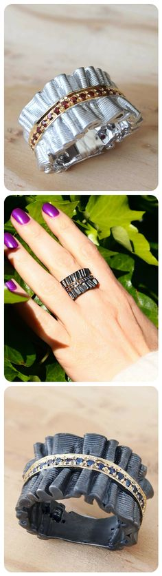 Statement Ring by Juvite | 2 Options: White with Garnet OR Black with Sapphire