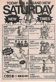 The best Saturday morning shows! CBC Saturday morning cartoons ad, 1981 by kerrytoonz Saturday Morning Cartoons 80s, Saturday Morning Quotes, Saturday Humor, Best 90s Cartoons, Classic Cartoons, Cartoon Quotes, Cartoon Tv, Nostalgia, Old Tv Shows