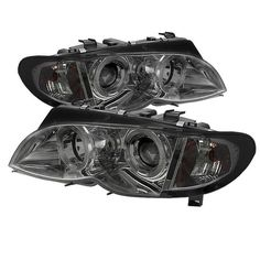 ( Spyder ) BMW E46 3-Series 02-05 4DR Projector Headlights 1PC - LED Halo - Smoke - High H1 (Included) - Low H7 (Included)
