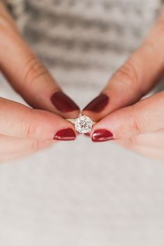 Holiday red mani and James Allen engagement ring