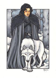 Jon Snow and Ghost by BlueUndine on DeviantArt Game Of Thrones Dragons, Valar Morghulis, Geek Out, People Art, Softies, Easy Drawings, Easy Crafts, Jon Snow, Geek Stuff