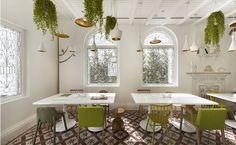 Blanco comedor con plantas colgantes