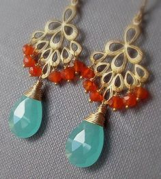 Aqua Blue Chalcedony Carnelian Gold Earrings by bijouxbydesif, $39.00