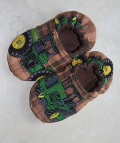 Children's Slippers Made with John Deere Tractor Fabric on Etsy, $16.00