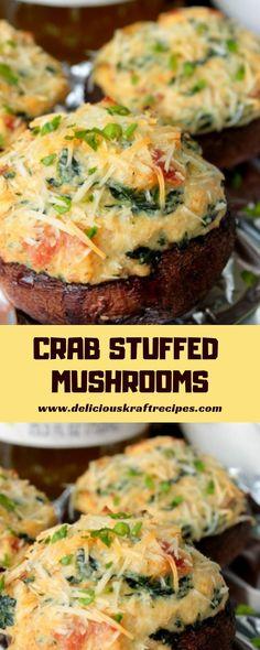 Crab Stuffed Mushrooms - Mushroom Recipes - - Crab Stuffed Mushrooms – Mushroom Recipes – Source by kayranicola Kraft Foods, Best Appetizer Recipes, Crab Recipes, Best Appetizers, Appetizers For Dinner, Mushroom Appetizers, Recipies, Crab Stuffed Mushrooms, Gourmet