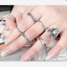 Set anillo Vintage diseño único Bohemia de plata tibetana plata antigua talla…