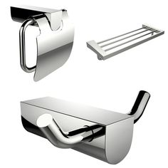 American Imaginations Modern Multi-Rod Towel Rack Toilet Paper Holder And Robe Hook Accessory Set
