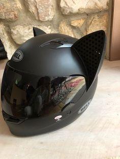 Bell Qualifier Helmet with Cat Ear Upgrade motorcycle Cat Ear Helmet Upgrade: BLACK Motorcycle Style, Motorcycle Gear, Motorcycle Accessories, White Motorcycle Helmet, Motorcycle Helmet Design, Motorcycle Touring, Futuristic Motorcycle, Women Motorcycle, Pink Dirt Bike