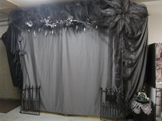 I have a gray sheet and black and white tulle Halloween photo booth, Halloween party picture background. Cross's carved from potato's and dried. Two plastic ferns wired together and painted along with thrift store flowers. Adult Halloween Party, Halloween Carnival, Halloween Pictures, Halloween Birthday, Halloween Party Decor, Halloween House, Holidays Halloween, Halloween Ball, 21st Birthday