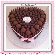 Love heart chocolate mud cake with Lindor sweets & maltesers! https://www.facebook.com/pages/Caketastic/163765000425745?ref=hl