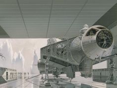 Ralph McQuarrie's original depiction of the Millennium Falcon, later turned into the Tantive IV, Rebel Blockade Runner