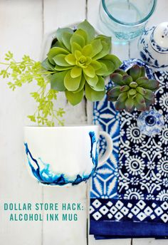 Is there anything better than a great dollar store hack? The price is right for this beautiful DIY alcohol ink mug. Your friends and family will love sipping out of these watercolor ceramic mugs.