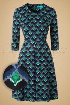 Fever Congo Front 60s Blue Green Dress 102 14 15803 20151110 0003W1