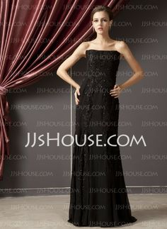 Mother of the Bride Dresses - $168.99 - Sheath Strapless Floor-Length Chiffon Charmeuse Evening Dresses With Lace Beading (017014247) http://jjshouse.com/Sheath-Strapless-Floor-length-Chiffon-Charmeuse-Evening-Dresses-With-Lace-Beading-017014247-g14247