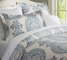 Lucianna Medallion Duvet Cover, Full/Queen, Blue- Master bedroom with teal-grey and one charcoal grey accent wall?