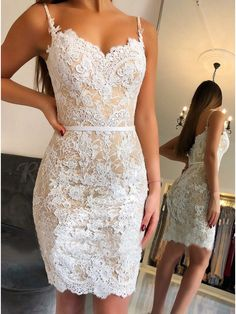 Spaghetti Lace Short Prom Dresses Lace Appliques Champagne Lining Sheath Evening Gowns Zipper Back Cheap Cocktail Party Dress Lace Homecoming Dresses, Sexy Dresses, Short Dresses, Formal Dresses, Wedding Dresses, Bridesmaid Dresses, Wedding Outfits, Beach Dresses, Pretty Dresses