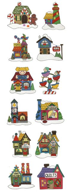 Embroidery | Machine Embroidery Designs | North Pole Village Set 4 Filled