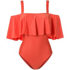 Adriana Degreas ruffled swimsuit ($685) ❤ liked on Polyvore featuring swimwear, one-piece swimsuits, ruffle bathing suit, adriana degreas, flounce bathing suits, flounce swimwear and frilly swimsuit
