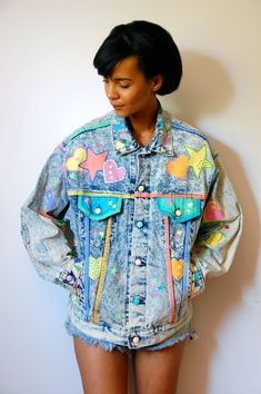 Vtg Acid Wash Painted Hearts Stars Rhinestoned by LuluTresors, $99.99 /// www.art-by-ken.com