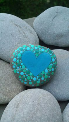 Hand painted stone heart dots