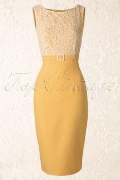 Daisy Dapper Vicky Lace Yellow Pencil Dress 100 80 12497 TopVintageW