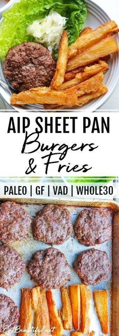 AIP Burgers and Fries Sheet Pan Dinner shares the secrets of how to make great burgers in the oven and how to make great AIP-friendly French fries (not potato) in the oven! This recipe is AIP Paleo GF VAD and A fun delicious easy dinner. Dieta Aip, Easy Healthy Recipes, Baby Food Recipes, Whole Food Recipes, Rice Recipes, Xmas Recipes, Whole 30 Easy Recipes, Easy Paleo Dinner Recipes, Best Paleo Recipes