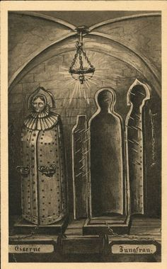 """Eiserne Jungfrau (torture device), an 18th century vintage photoThe maiden worked by enclosing the poor victim inside and then closing the spiked doors, killing or just torturing them with pointed blades or spikes attached to the door.This illustration shows two iron maidens, one open and one closed. Below are the German words Eiserne Jungfrau - """"Iron Maiden"""