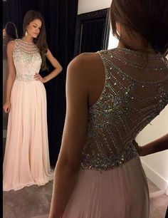 A-Line Scoop Prom Dress,Sleeveless Chiffon Pink Long Evening Dress With Crystal,111043176