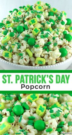 Patrick's Day Popcorn – Two Sisters St. Patrick's Day Popcorn – Two Sisters St. St Patricks Day Crafts For Kids, St Patricks Day Food, Saint Patricks, Holiday Snacks, Holiday Recipes, St Patrick Day Snacks, Pop Corn, Popcorn Recipes, Dessert Recipes