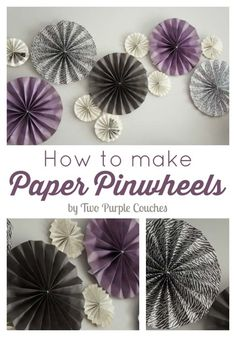 DIY Purple Room Decor - DIY Paper Pinwheels - Best Bedroom Ideas and Projects in Purple - Cool Accessories, Crafts, Wall Art, Lamps, Rugs, Pillows for Adults, Teen and Girls Room http://diyprojectsforteens.com/diy-room-decor-purple