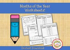 Months of the Year Worksheets, Printable, Preschool, First Grade, Kindergarten, Homeschool Worksheets Learning Resources, Student Learning, Teacher Resources, Kids Learning, Teaching Ideas, Learn To Spell, Learn To Count, Abc Tracing, Number Posters