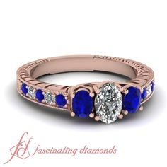 Oval Lucida Ring|| Oval Shaped Diamond Vintage Ring With Blue Sapphire In 14K Rose Gold