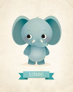 Elephant art print kid's room decor new baby gift