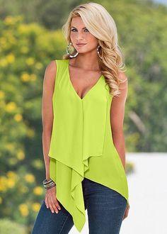 White Yellow Orange Red Purple Green Blue Irregular Women Top Summer Sleeveless Ruffles Blusas Sexy Low Cut V Neck Blouse Shirt-noashe Casual Outfits, Fashion Outfits, Womens Fashion, Fashion Shirts, Fashion Tag, Cheap Fashion, Style Fashion, Moda Zara, Shirt Bluse