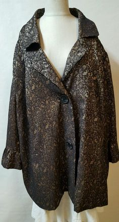Black Gold Jacket Duster Topper Size 5X 34/36W Floral Dressy Lined Maggy Barnes…
