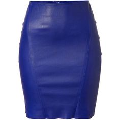 JITROIS Blue Stretch Leather Skirt found on Polyvore
