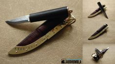 Small viking women's knife with sheath.   Blade from Maihkel Eklund, handle is bog oak with brass hardware and copper underlay, 135 mm.
